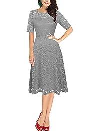 Dolamen Mujer Cordón Vestidos, Cuello redondo Vintage y estilo retro, Slim Fit A-line Rodilla-largo, Vestido corto del cordón de la manga,…