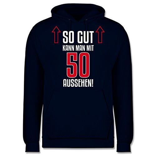 Geburtstag - So gut kann man mit 50 aussehen - Männer Premium Kapuzenpullover / Hoodie Dunkelblau