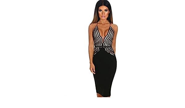 86fb735a Pink Boutique Dream Icon Black Embroidered Sequin Plunge Midi Dress: Amazon. co.uk: Clothing