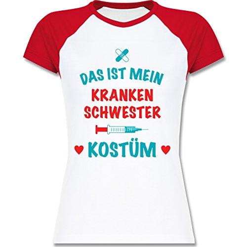 Karneval & Fasching - Das ist mein Krankenschwester Kostüm - zweifarbiges Baseballshirt / Raglan T-Shirt für Damen Weiß/Rot