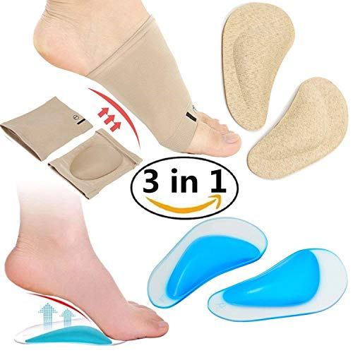 Arch Support Compression Sleeves,Soft Silicone Safe and Comfort Reusable, Shoe Cushions Pads for Flat Feet, Plantar Fasciitis, Relieve Foot Pain for Women and Men