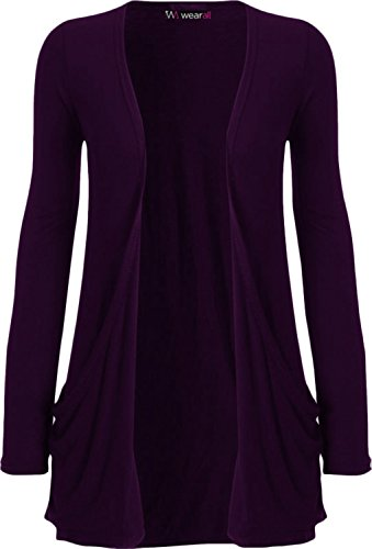 WearAll - Ladies Long Sleeve Pocket Cardigan Womens Top - Purple - 16 / 18