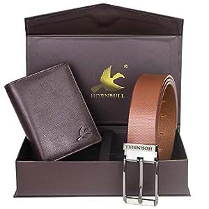 Hornbull Men's Brown Wallet and Brown Belt Combo BW102102