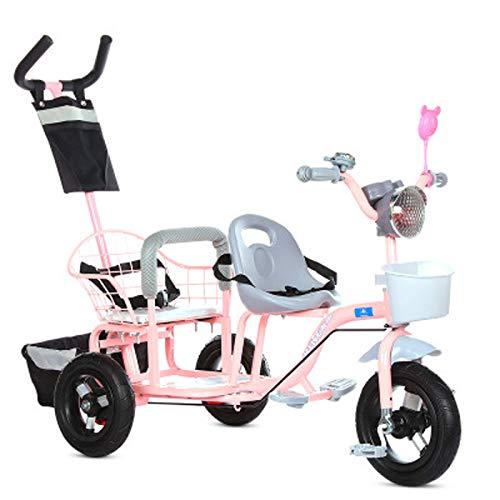 JHGK Tandem-Dreirad Für Kinder, Tandem-Dreirad-Pedalrad, Titan-Schubdreirad Mit Musikbeleuchtetem Heckrahmen, Kinder-Zwillingsdreirad Aus Karbonstahl Tricycle,Rosa