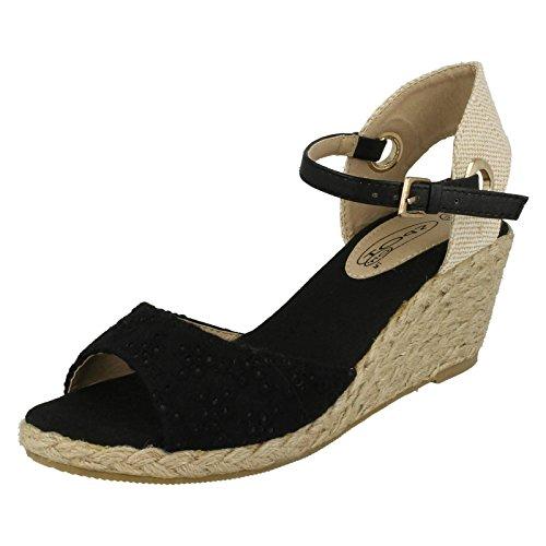 Donna a pois sandali con zeppa bassa, nero (Black Textile), 42