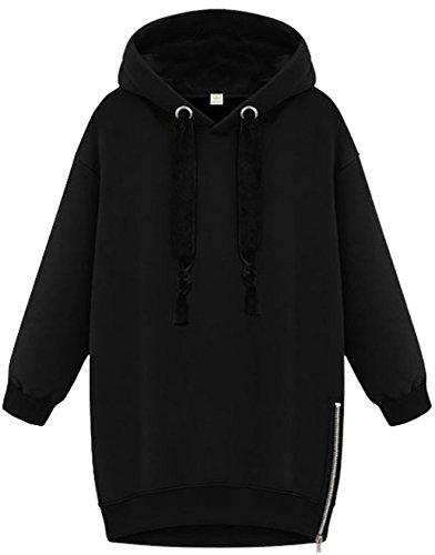 Invernali Pullover Donna Felpe Sportive con Cappuccio Maniche Lunghe  Sweatshirt Hoodie Coat con Zip Laterale Nero e35046e4cbc