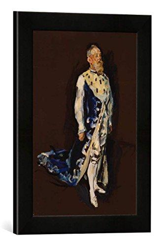 Gerahmtes Bild von Max Slevogt Prinzregent Luitpold von Bayern im Hermelinmantel, Kunstdruck im hochwertigen handgefertigten Bilder-Rahmen, 30x40 cm, Schwarz matt