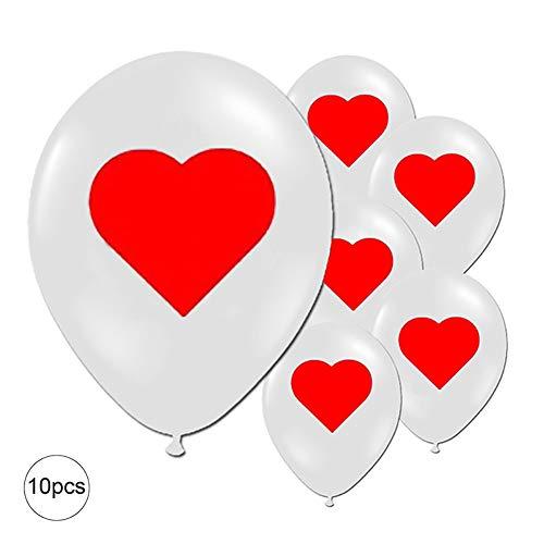 Mudacun Partido Globos de látex Globos Que Juega el Globo Diseño Tarjeta de Fiesta de cumpleaños de la Despedida de Soltero de graduación Decoración 12 Pulgadas 10 PCS-Corazón