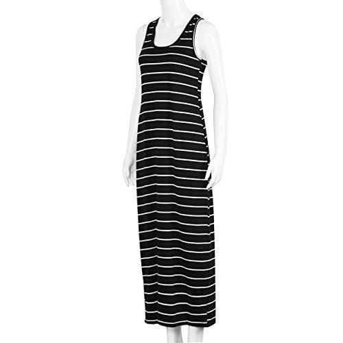 Robe,Malloom Femmes Sans Manches Rayées Lâche Longue Robe Beach Party Sundress Casual Noir