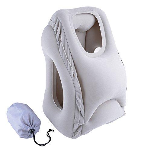 Lumsing Aufblasbare Reisekissen tragbare Nacken Kissen Neuest Multi Travel Pillow mit Tragetasche,Innovatives kissen für Flugzeug Zug Auto Büro Camping zum Schlafen und Entspannen in Grau