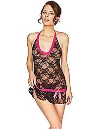 Mio Sexy Malibu Paradise Black and Pink Lace Chemise and Thong Set B2176