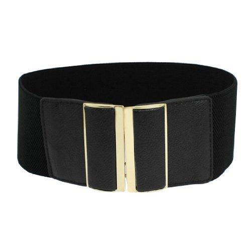 Gleader cintura elastica nero in ecopelle ornamento per donna