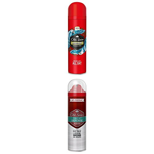 Old Spice Deodorant Spray Hawkridge, 2er Pack (2 x 0.15 l) mit Old Spice Anti-Transpirant Spray Sweat Defense, 3er Pack (3 x 125 ml)