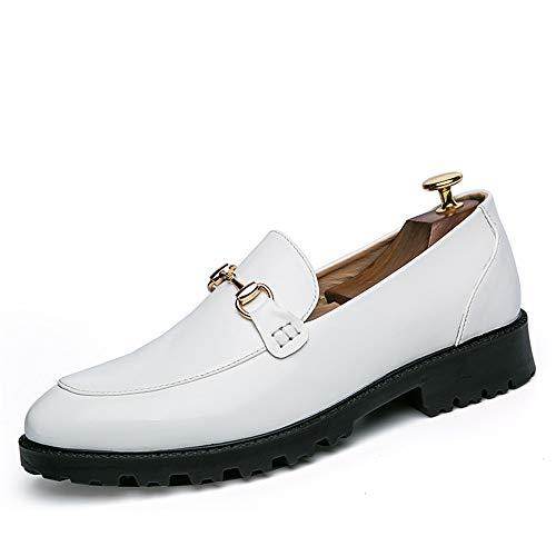 HILOTU Herren Casual Slip-on Driving Schuhe Mode Metall Button Slipper Business Oxfords (Color : Weiß, Größe : 42 ()