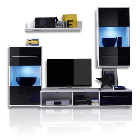 ROLLER Wohnwand BLACK MAGIC – schwarz-weiß – LED-Beleuchtung – 230 cm breit - 2