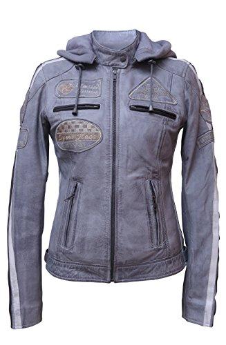 Urban Leather 58 Giacca Moto da Donna con Imbottitura Protettiva, Grigio, Taglia 5XL