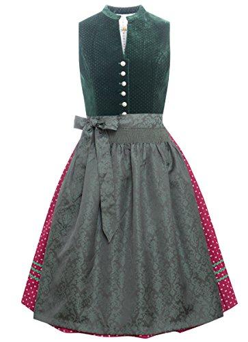 Almsach Damen Trachtenmode Midi Dirndl Antonia in Dunkelgrün Traditionell, Größe:50, Farbe:Dunkelgrün