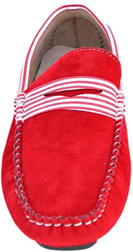 Mocassins marinière à intérieur cuir Rouge