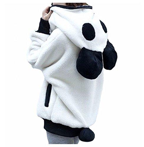 Panda Erwachsenen Kostüme Tragen (Y&L Frauen Casual Wear Hoodies Erwachsene Warmen Flauschigen Panda-Jacke Outwear Mantel)