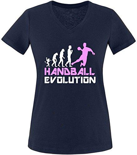 EZYshirt® Handball Evolution Damen V-Neck T-Shirt Navy/Weiss/Rosa