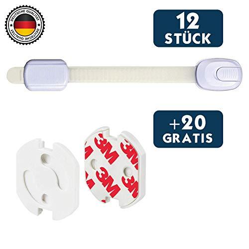 Kindersicherung für Schrank und Schubladen Hoffenbach® - 12x Schranksicherung und 20x Steckdosensicherung zum kleben für Baby und Kind - Schrankschloss ohne bohren - Deutscher Hersteller