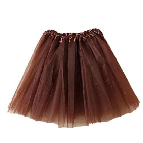 HUIHUI Damen Tütü Rock Minirock Organza Pettiskirt 3 Layers Petticoat Tanzkleid dehnbaren informell Mini Skater Rock Ballettrock mit Sternchen Perfekt für Fasching (Kaffee) (Rock Layer-petticoat)