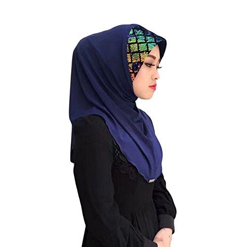 Haodasi Muslim Tête Écharpe Paillettes Épissure Chapeau désign Hijab Islamic Doux Écharpe Châle Navy blue