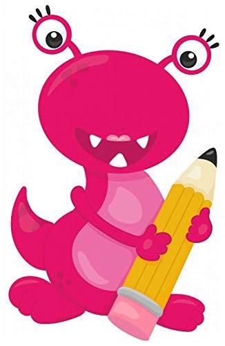 plot4u Monster mit Bleistift Wandtattoo Wandaufkleber Kinderzimmer in 8 Größen (63x100cm Mehrfarbig)