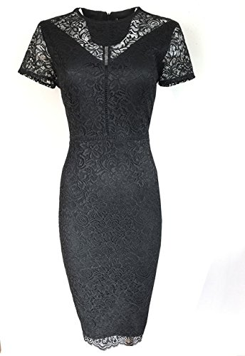 new-ms-black-lace-bodycon-dress-marks-spencer-size-12