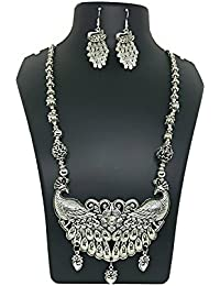 Oxidised German Silver/Fashion/Antique Jewellery Peacock Necklace Set For Women And Girls