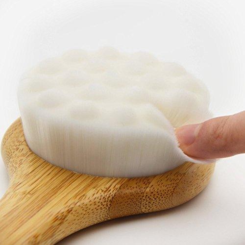 chirisen cuerpo cepillo esponja cuerpo cepillado con largo mango de madera de bambú eficaz para mojado y seco cuerpo cepillado adecuado para hombres y mujeres
