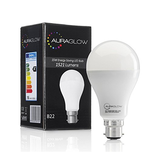 auraglow-super-bright-15w-led-b22-bayonet-light-bulb-cool-white-6500k-1521-lumens-100w-eqv