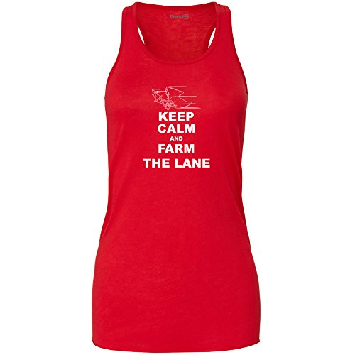 Brand88 - Keep Calm and Farm the Lane, Damen Flowy Racer Tank Top Rot