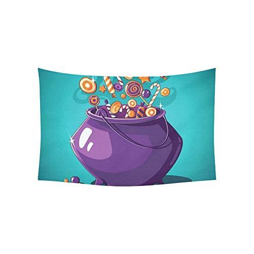 JOCHUAN Tapisserie Halloween Vintage Poster Trick Treat Tapisserien Wandbehang Blume Psychedelic Tapisserie Wandbehang Indischen Wohnheim Dekor Für Wohnzimmer Schlafzimmer 60 X 40 Zoll