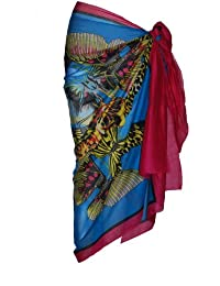 Fuschia & Turquoise Cotton Sarong with Large Butterfly Design