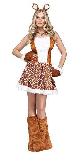 Fancy Me Erwachsene Damen Sexy Weihnachten Rentier Tier Weihnachten Kostüm Kleid Outfit - Braun, 10-12