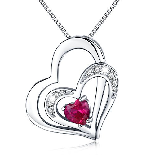 Kette Herz Damen Halskette 925 Sterling Silber Doppel Herz Anhänger mit Zirkonia für Mutter
