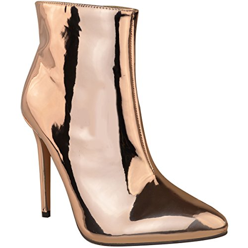 Fashion Thirsty Womens Ladies Metallic Ankle Boots Block High Heel Pointed Toe Rose Silver Size