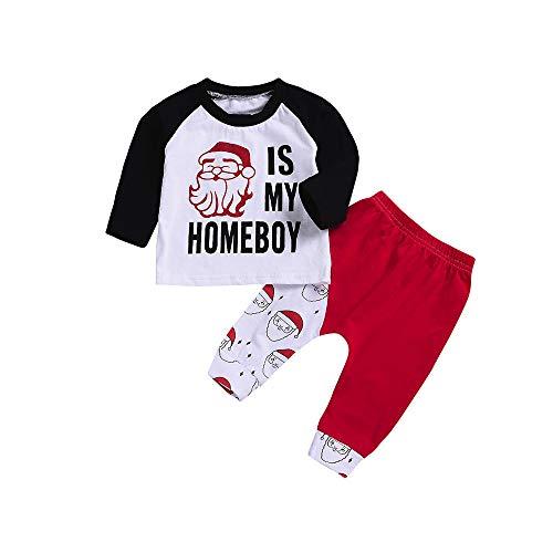 MIRRAY Weihnachten Neugeborenes Baby Junge Mädchen Brief Patchwork Tops Cartoon Hosen Kleidung ()