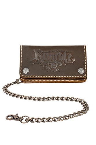 Rumble59 - Leder Wallet – Braun - Portemonnaie - Geldbörse - Biker Wallet - Kette (Sweatshirt Bowling Baumwolle)