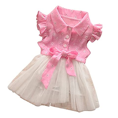 NING 2017 New Design Kids Baby Girl Party Princess Denim Splice Clothes Outfit Tulle Dress (0~2 years old ) (Size:24M, Pink)