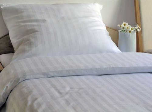 Genieße den Schlaf Mako Satin Damast Bettwäsche Set aus 100% Baumwolle, Weiß satiniert, verschiedene Größen