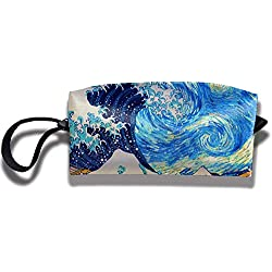 NA The Great Wave Off Starry Night Travel Makeup Bag Cosmetic Bags Trousse de toilette Clutch Pouch Multi-Purpose Organizer Bag