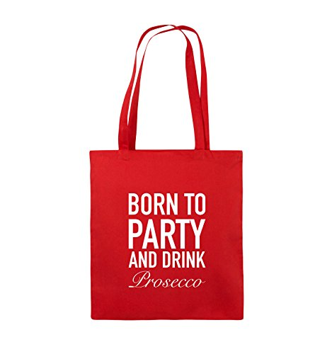 Comedy Bags - BORN TO PARTY - Prosecco - Jutebeutel - lange Henkel - 38x42cm - Farbe: Schwarz / Pink Rot / Weiss