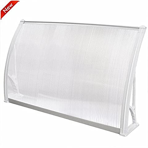 Popamazing Top Quality Single/Double/Triple Polycarbonate Front Back Door Window Awning Patio Cover Canopy (White, Single(120 x 75 x 23cm/47.2 x 29.5 x