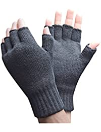 Mens 2.3 tog Thermal knitted Heat Holders FINGERLESS Gloves Charcoal Grey One size