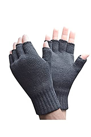 Heat Holders - Mens Winter Warm 3.2 TOG Fleece Lined Insulated Knit Thermal Fingerless Gloves (One Size, Grey)