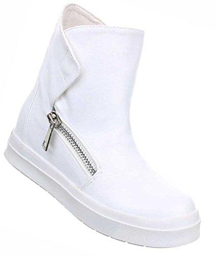 Damen Boots Schuhe Keil Stiefeletten Freizeitschuhe Schwarz Grau Weiß 35 36 37 38 39 40 41 Weiß