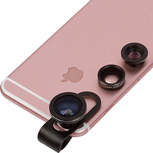 Preisvergleich Produktbild Handy Objektiv 3 in 1: 180º Fisheye, 0,65x Weitwinkel & 12x Makro – Für Smartphone (Samsung, Sony, iPhone 6 & 7) & Tablet Kamera Objektiv, von Key and Arbor