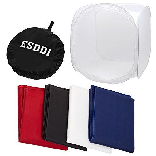 ESDDI Caja de fotografía Caja de luz 80 x 80 x 80 cm Fondos de Estudio Fotografico  Difusora con 4 Telas de Fondo (Rojo Oscuro, Azul Negro y Blanco)